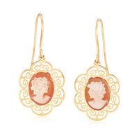 Italian Shell Cameo and 14kt Yellow Gold Scrollwork Drop Earring