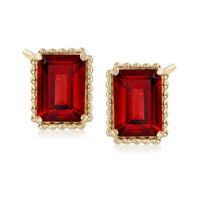 3.80 ct. t.w. Garnet and 14kt Yellow Gold Beaded Frame Earrings