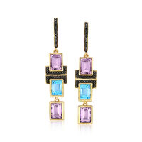 5.60 ct. t.w. Multi-Stone Drop Earrings in 18kt Gold Over Sterling