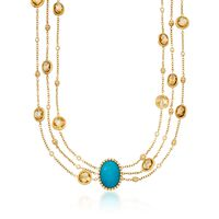 Italian Turquoise and 31.39 ct. t.w. Citrine Chain Necklace With Diamonds in..