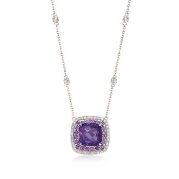 """Gregg Ruth 3.20 Carat Total Weight Amethyst and .27 Carat Total Weight Diamond Necklace in 18-Karat White Gold. 18"""""""