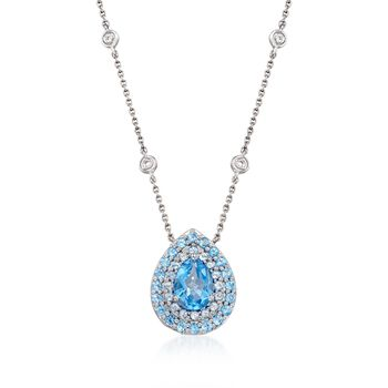 Gregg Ruth 2.40 Carat Total Weight Blue Topaz Pendant Necklace With Diamond Accents in 18-Karat White Gold. 18""