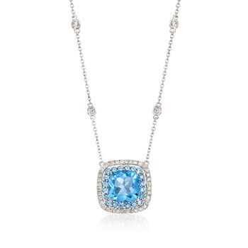 """Gregg Ruth 3.20 Carat Total Weight Blue Topaz and .27 Carat Total Weight Diamond Necklace in 18-Karat White Gold. 18"""""""