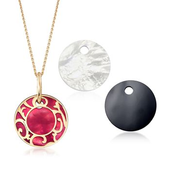 Mattioli Siriana 18-Karat Yellow Gold Necklace With 4 Interchangeable Drops: 18-Karat Gold, Black, Red and White. 16.75""
