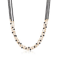 42. 75 ct. t.w. Black Spinel Bead Three-Strand Necklace in 14kt Yellow Gold...
