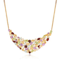 14.30 ct. t.w. Multi-Stone Leaf Motif Necklace in 18kt Gold Over Sterling Si..