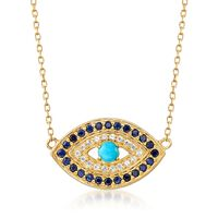 Turquoise and .20 ct. t.w. Sapphire Evil Eye Necklace With White Topaz Accen..