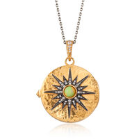 Opal and .60 ct. t.w. White Zircon Starburst Locket Pendant Necklace in 18kt..