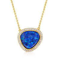 Blue Synthetic Opal and Zircon Necklace in 18kt Yellow Gold Over Sterling Si..