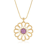 Italian 8.50 Carat Amethyst and 18kt Gold Over Sterling Open-Space Flower Pe..