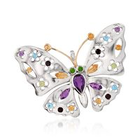 2.50 ct. t.w. Multi-Stone Floral Butterfly Pin Pendant Necklace in Sterling ..