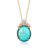 Turquoise and .70 ct. t.w. Apatite Pendant Necklace With Diamond Accents in ..