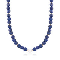 Heart-Shaped Lapis Bead and 10-10.5mm Cultured Semi-Baroque Pearl Necklace W..