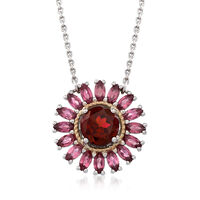 1.40 Carat Rhodolite and 1.10 ct. t.w. Pink Tourmaline Starburst Necklace in..