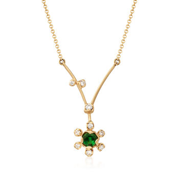 """Simon G. .20 Carat Tsavorite and .11 ct. t.w. Diamond Floral Necklace in 18kt Yellow Gold. 18"""""""