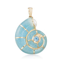 Milky Aquamarine and .30 Carat Blue Topaz Snail Shell Pendant With Cultured ..
