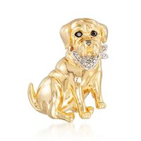 18kt Yellow Gold Over Sterling Dog Pin Pendant with Diamond Accents and Blac..