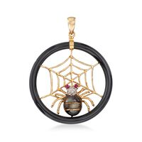 Black Mother-Of-Pearl Spider and Web Pendant With Ruby and Diamond Accents i..