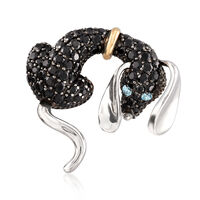 4.42 ct. t.w. Black Spinel Dog Pin With .10 ct. t.w. Blue Topaz in Sterling and 14kt Gold
