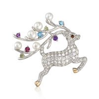 Cultured Button Pearl and 1.63 ct. t.w. Multicolored Multi-Stone Reindeer Pi..