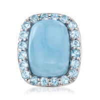 Milky Aquamarine and 2.60 ct. t.w. Blue Topaz Ring in Sterling Silver. Size 6