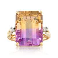 11.00 Carat Ametrine Ring With Diamond Accents in 14kt Yellow Gold. Size 6