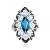 2.20 Carat London Blue Topaz and 2.50 ct. t.w. Aquamarine Ring with Blue Dia..