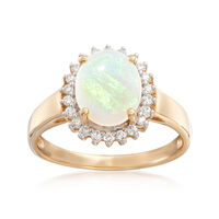 Opal and .21 ct. t.w. Diamond Ring in 14kt Yellow Gold. Size 6