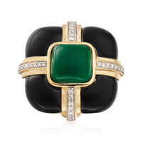 Black and Green Agate Ring with Diamonds in 18kt Yellow Gold Over Sterling. ..