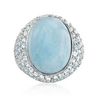 Milky Aquamarine and 4.40 ct. t.w. Sky Blue Topaz Ring in Sterling Silver. S..