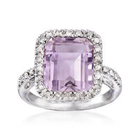 5.75 Carat Pink Amethyst and .25 ct. t.w. Diamond Ring in Sterling Silver. S..