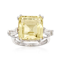 10.60 ct. t.w. Lemon and White Topaz Ring in Sterling Silver. Size 6