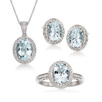 4.75 ct. t.w. Aquamarine and .20 ct. t.w. Diamond Set: Earrings, Necklace, a..