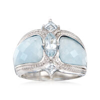 Milky Aquamarine and .85 ct. t.w. Blue Aquamarine Ring in Sterling Silver. S..