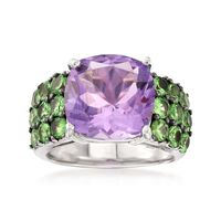 5.60 Carat Amethyst and 2.10 ct. t.w. Green Tsavorite Ring in Sterling Silve..