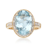 4.20 Carat Aquamarine Ring With Diamond Accents in 14kt Yellow Gold. Size 8.5