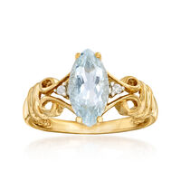 1.00 Carat Aquamarine Ring With Diamond Accents in 14kt Yellow Gold. Size 10