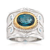 3.40 Carat Blue Topaz and .10 ct. t.w. Aquamarine Ring in Two-Tone Sterling ..