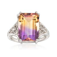 7.75 Carat Emerald-Cut Ametrine Ring With White Topaz Accents in Sterling Si..