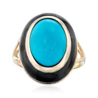 Synthetic Turquoise and Black Agate Ring in 14kt Yellow Gold. Size 5