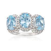 4.60 ct. t.w. Aquamarine and .41 ct. t.w. Diamond Ring in 14kt White Gold. S..
