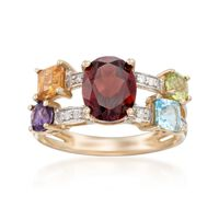 3.90 ct. t.w. Multi-Stone and .13 ct. t.w. Diamond Ring in 14kt Yellow Gold...