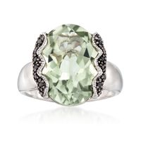7.50 Carat Green Amethyst and .10 ct. t.w. Black Spinel Ring in Sterling Sil..