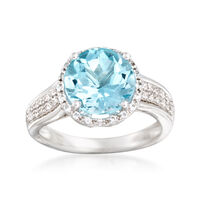 4.50 Carat Blue Topaz and .20 ct. t.w. White Topaz Ring in Sterling Silver. ..
