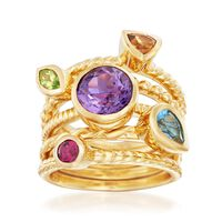 2.30 ct. t.w. Multi-Stone Jewelry Set: Five Stacking Rings in 14kt Gold Over..