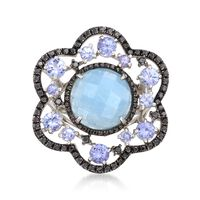 5.50 Carat Milky Aquamarine Floral Ring With Black Spinels and Tanzanites in..