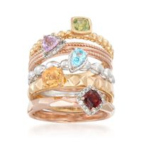 1.43 ct. t.w. Multi-Stone Jewelry Set: Five Rings in Tri-Colored Sterling Si..