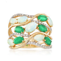 Opal and 1.20 ct. t.w. Emerald Multi-Row Ring With .19 ct. t.w. Diamonds in ..