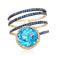 3.80 Carat Blue Topaz and .50 ct. t.w. Sapphire Coil Ring With Diamonds in 1..