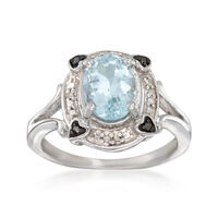1.60 Carat Aquamarine Ring With Black and White Diamond Accents in Sterling ..